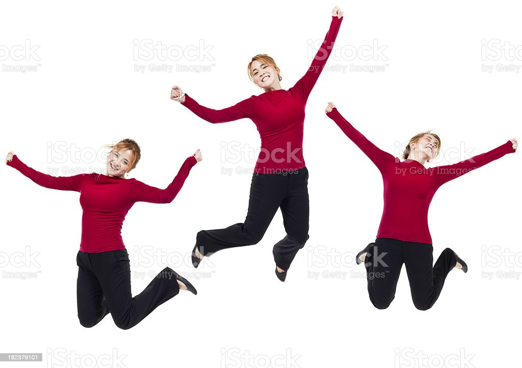 Christmas Joy! Woman Jumping Wearing Red (Isolated, XXXL) royalty-free stock photo