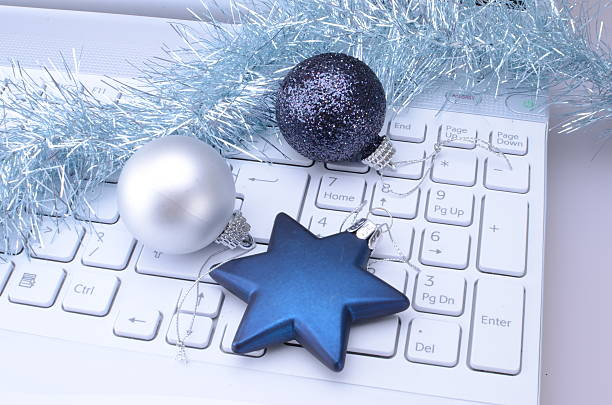 christmas keyboard - office party stock pictures, royalty-free photos & images