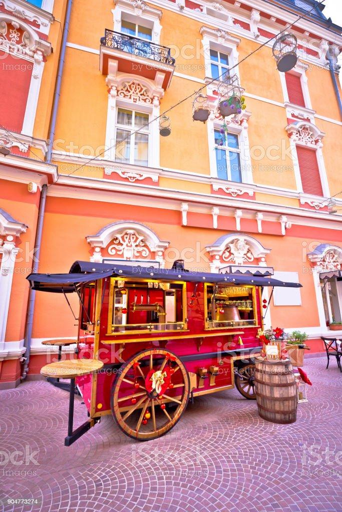 Christmas kiosk wagon street view in Opatija, Kvarner region of Croatia stock photo