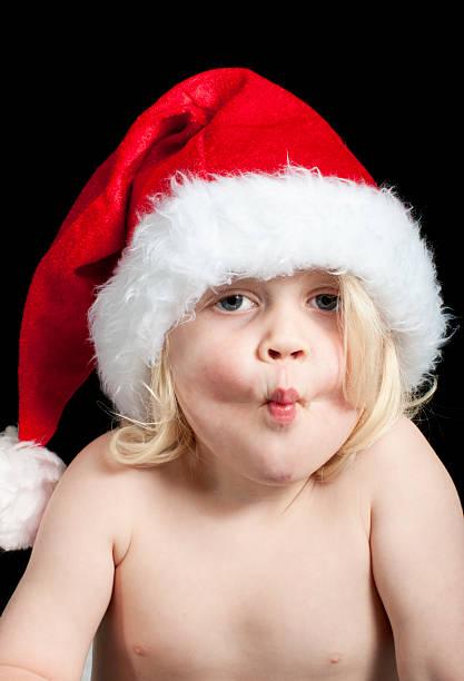 Christmas kiss stock photo