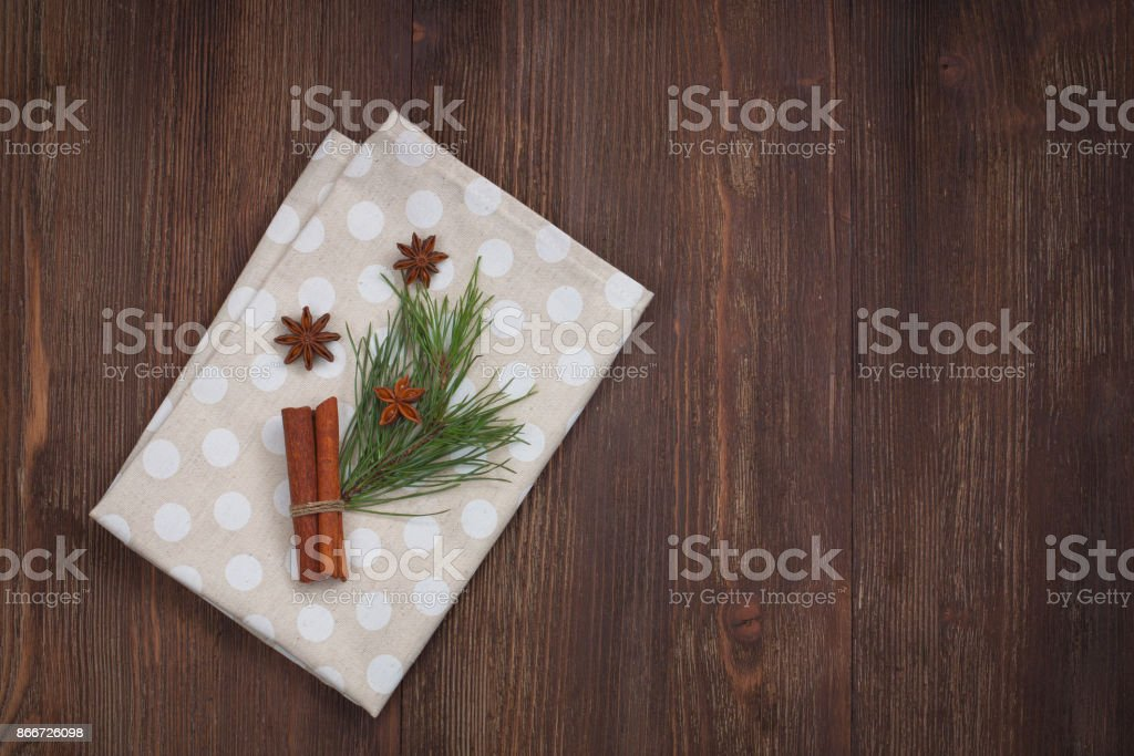 Christmas kitchen towel on the wooden background stock photo