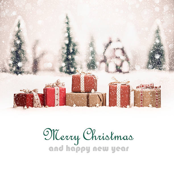 Christmas landscape with gifts stock photo