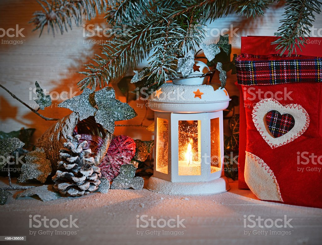 Christmas Lantern In Night On Snow Stock Photo Download Image Now Istock