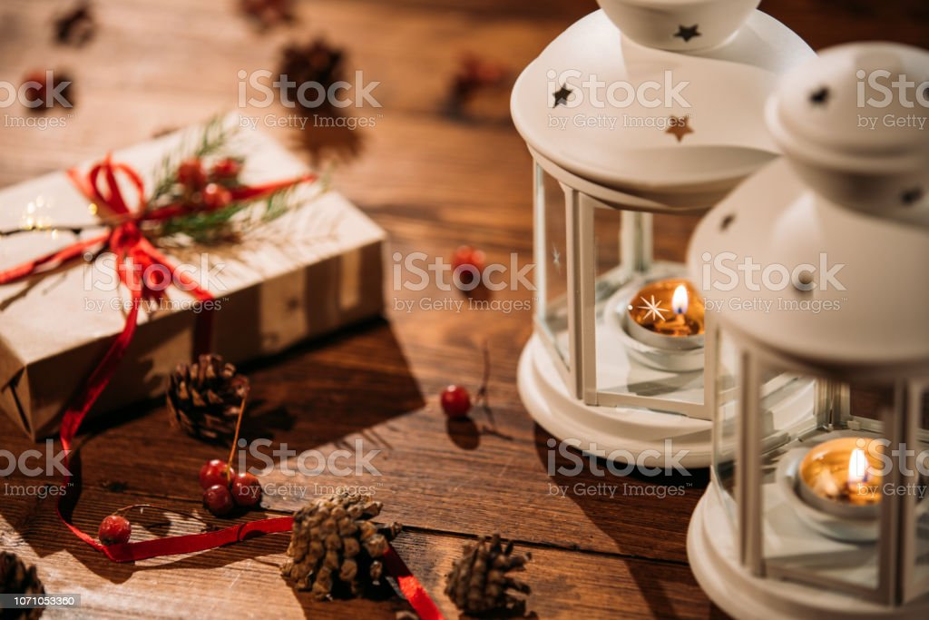 Finland Christmas Decorations.Christmas Lantern With Decorations On Wooden Background