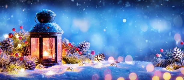 Christmas Lantern With Ornament On Snow Christmas Decoration - Lantern With Ornament On Snow lantern stock pictures, royalty-free photos & images
