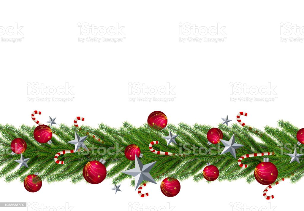 Christmas leaves with a realistic Christmas tree flooring on a red background. Star, ball, perfect for word - foto stock
