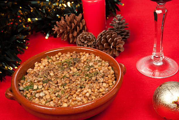Christmas lentils stock photo