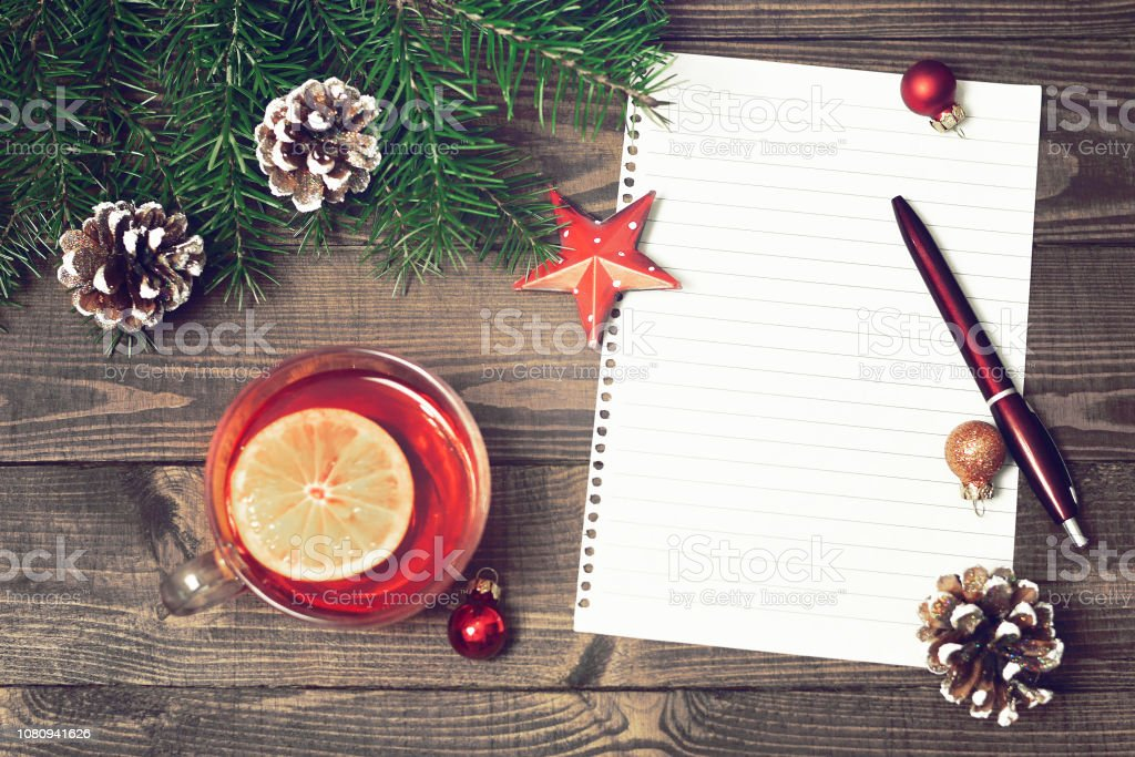 Christmas letter. Blank paper and Christmas decoration