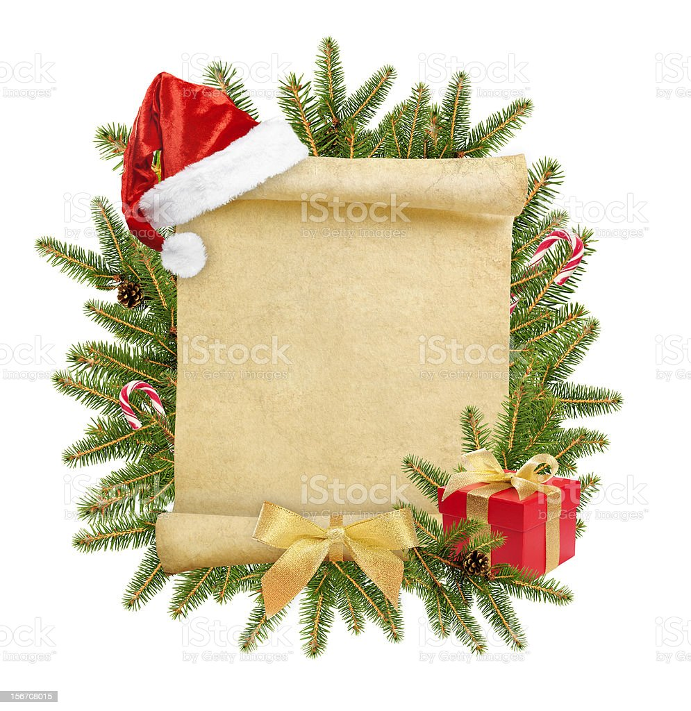 Christmas letter parchment that is blank with a wreath stock photo
