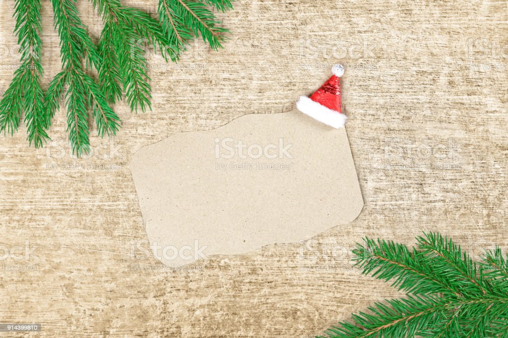 Christmas Letter To Santa Claus Spruce Branches And Sheet Of