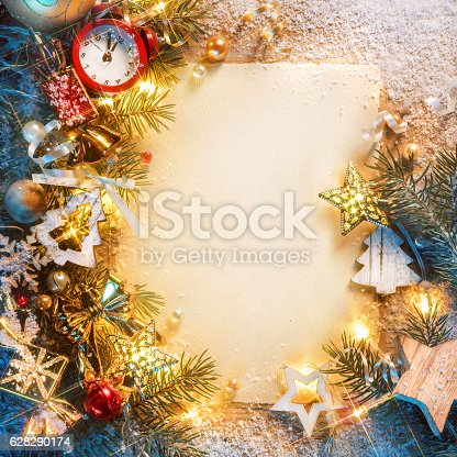 istock Christmas letter with decorated fir tree 628290174