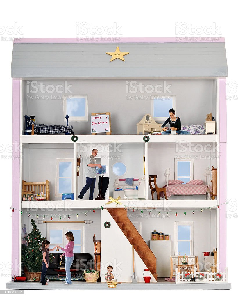 Christmas Life in a Doll House stock photo