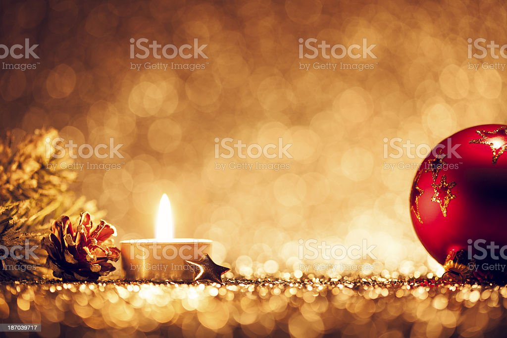 Christmas Light - Candle Bokeh Defocused Decoration Gold royalty-free stock photo