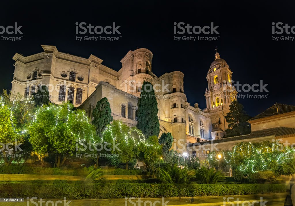 Christmas light decorations around the cathedral in Malaga, Spain stock photo
