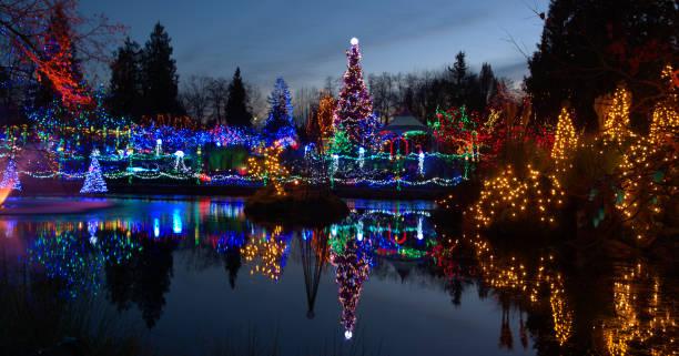 kerstmis licht festival in canada - tonen stockfoto's en -beelden