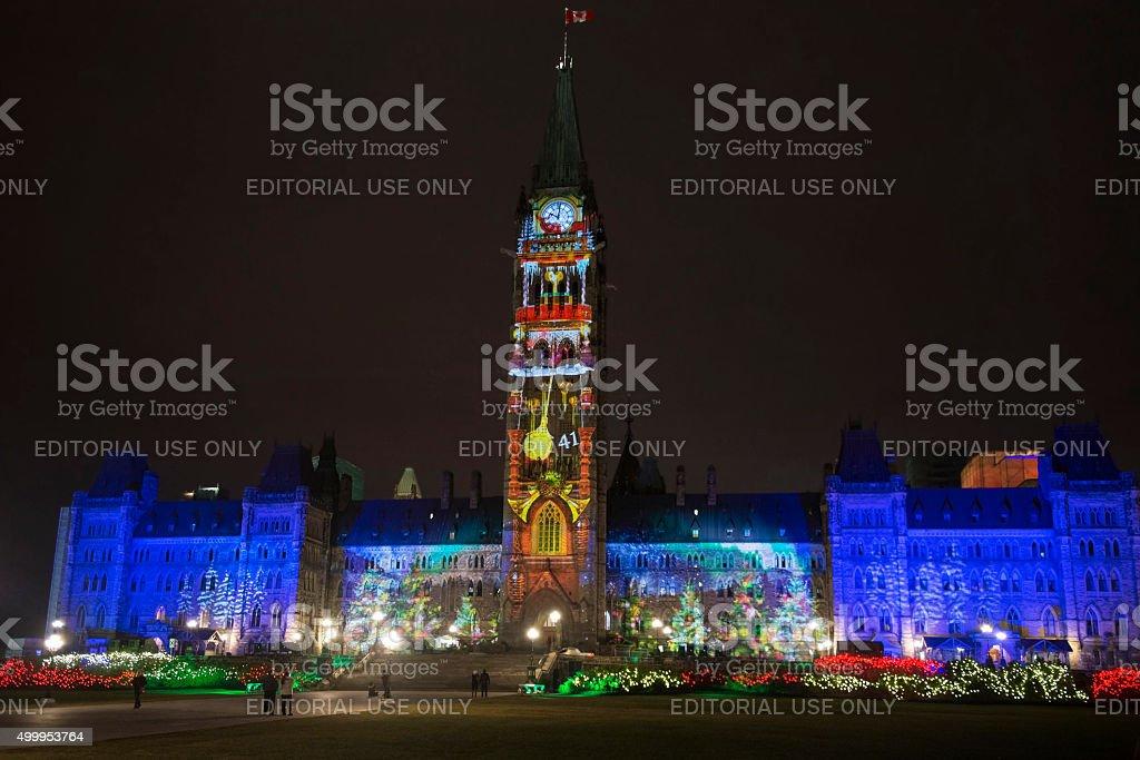 Christmas light show in Ottawa stock photo