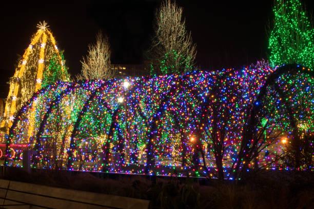 Christmas light tunnel stock photo