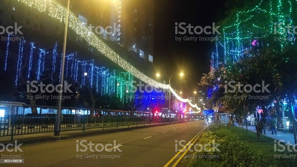 christmas lightings around toa payoh singapore royalty free stock photo