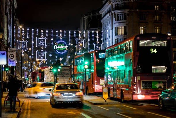 Christmas lights 2017 on Oxford street, London, UK Oxford street in Christmas time, London, UK mayfair stock pictures, royalty-free photos & images