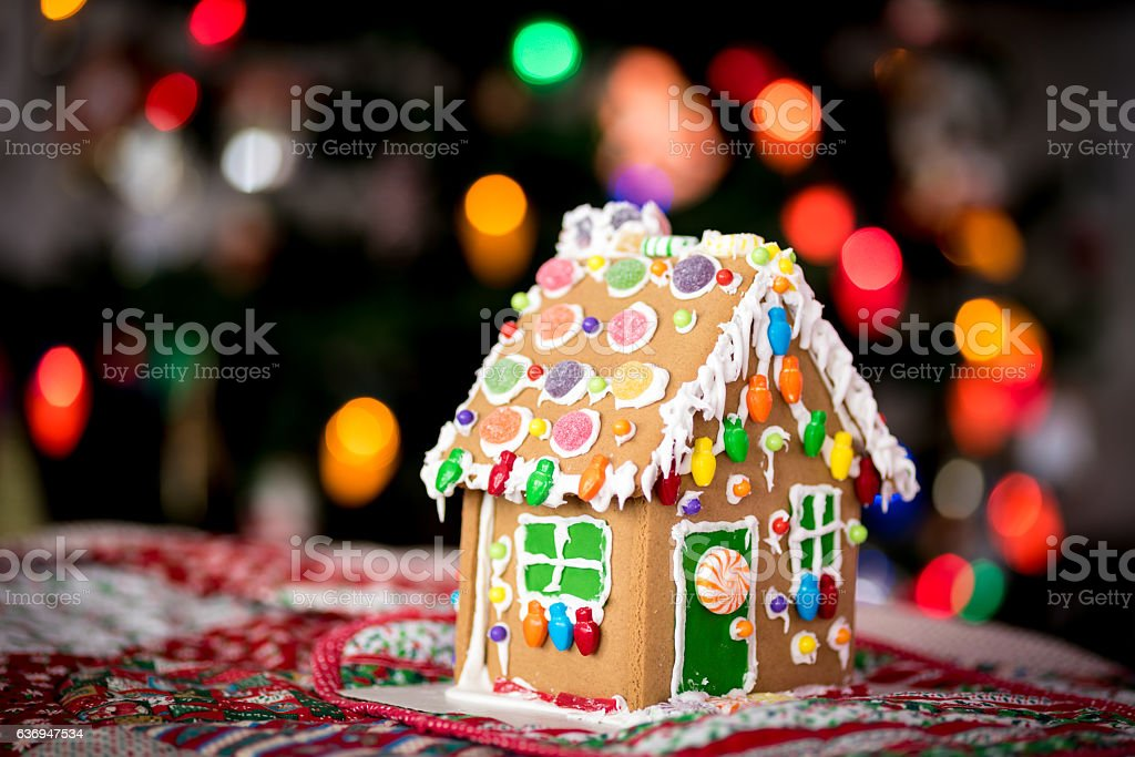 Christmas lights and a Gingerbread house royalty-free stock photo