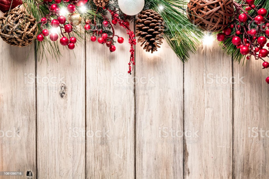 Christmas lights and decoration making a frame with copy space. Christmas themes. stock photo