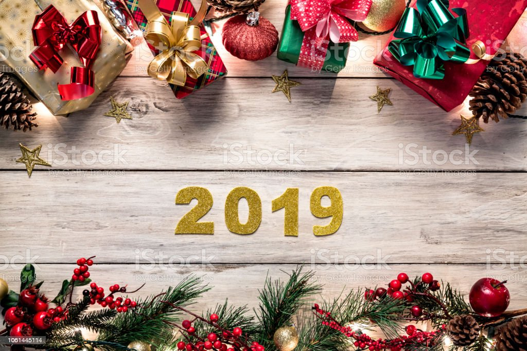 2019 Christmas Themes Christmas Lights And Decoration With Gifts Making A Frame New Year
