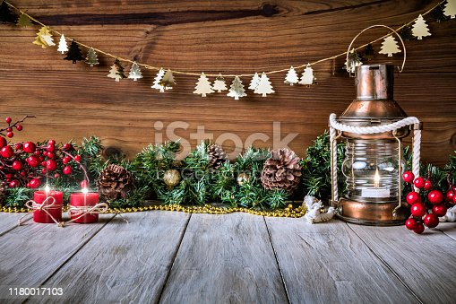 Christmas lights and decoration with presents making a frame with copy space. Christmas themes.