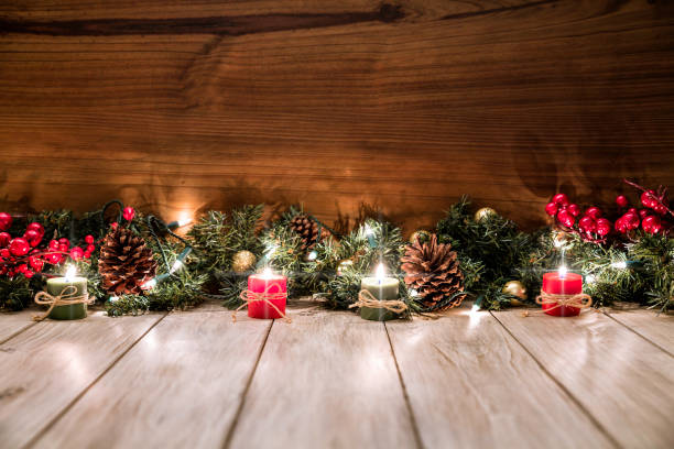 Christmas lights and decoration with presents making a frame with copy space. Christmas themes. Christmas lights and decoration with presents making a frame with copy space. Christmas themes. navidad stock pictures, royalty-free photos & images