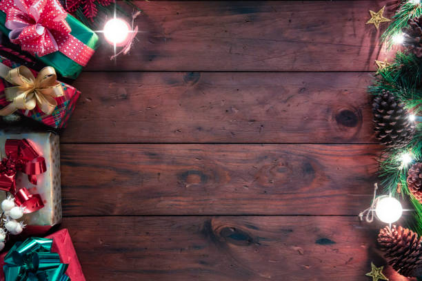 Christmas lights and decoration with presents making a frame with copy space. Christmas themes. stock photo