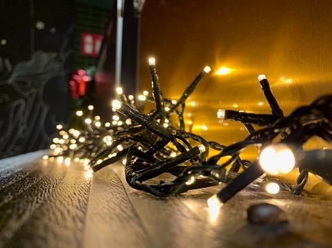 Christmas lights and ornaments.