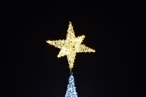 Christmas lights at Seville with Giralda by night