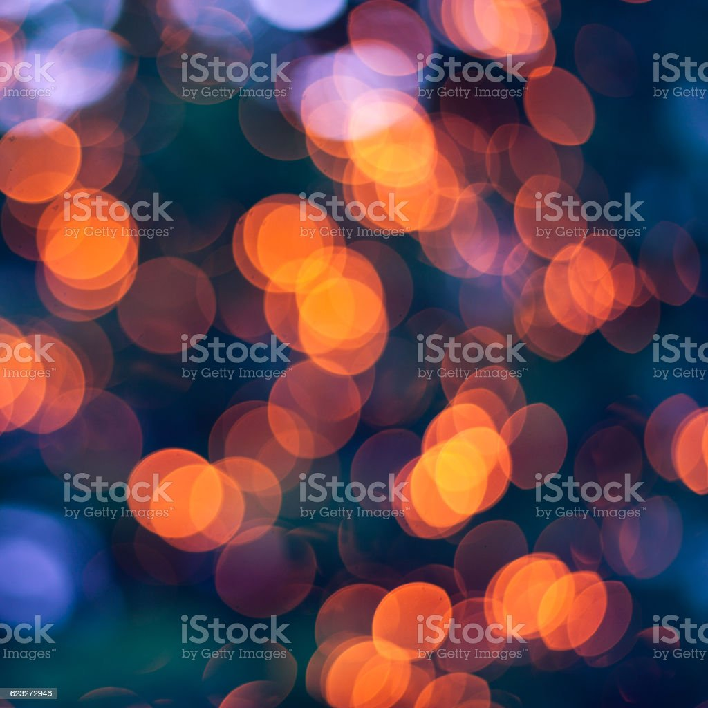 christmas lights blurred background orange and blue royalty free stock photo