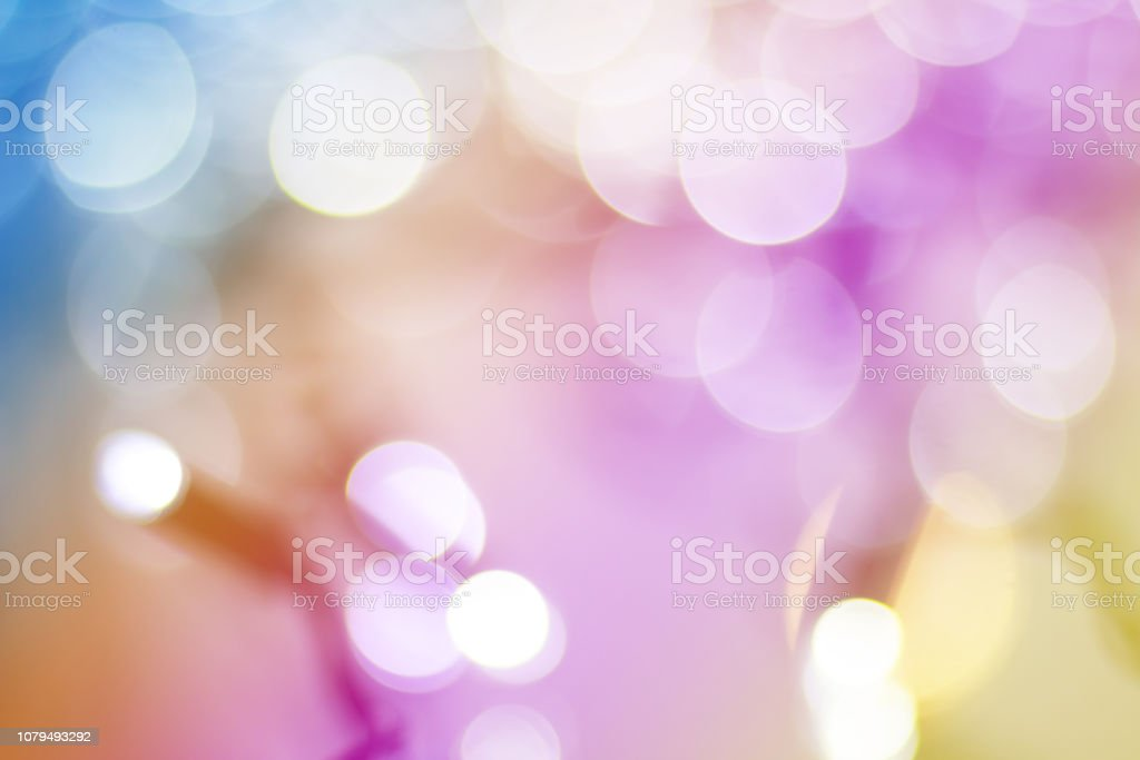 Christmas lights blurred background with bokeh stock photo