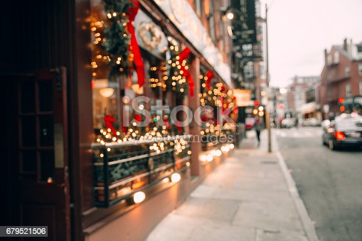 blurred background city street with Christmas illuminations. Copy space for your text