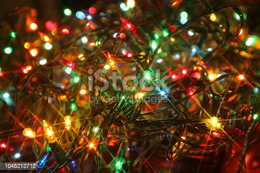 Colorful strand of Christmas lights closeup