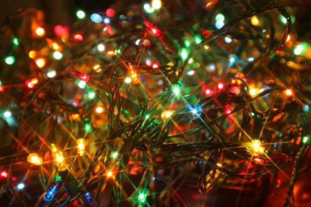 closeup de luzes de natal - christmas lights - fotografias e filmes do acervo
