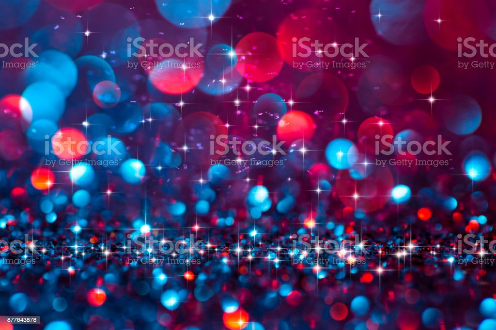 Christmas lights defocused background - Bokeh Blue Red stock photo