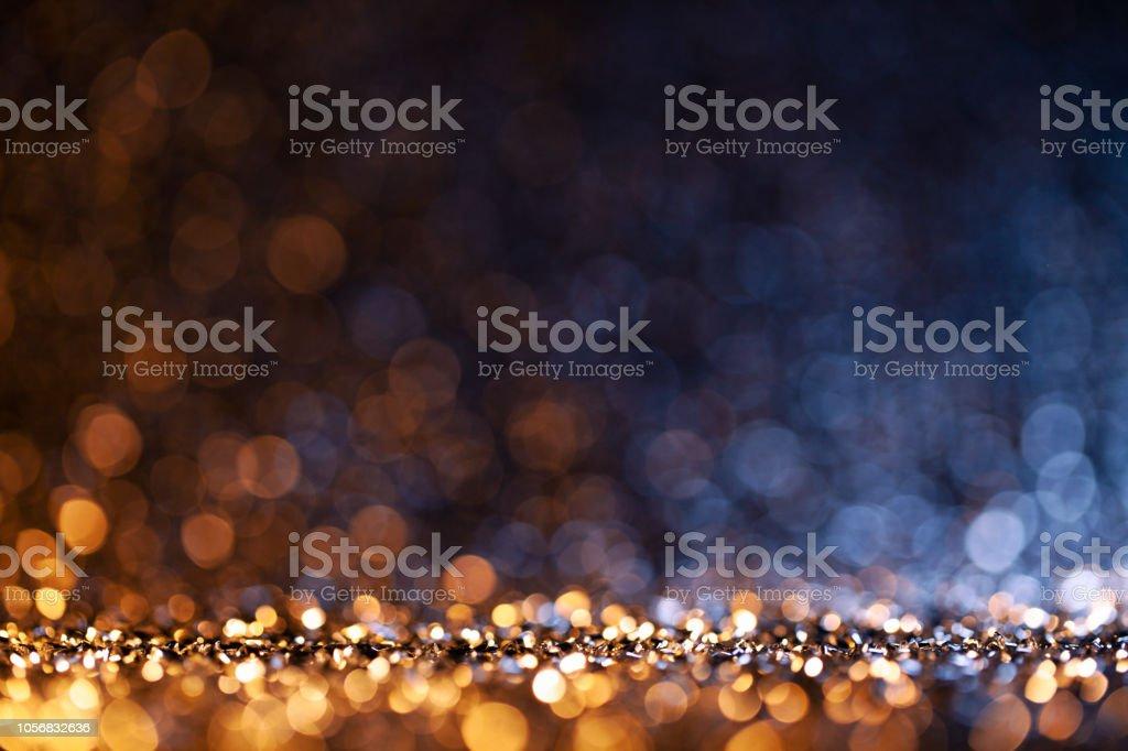 Christmas lights defocused background - Bokeh Gold Blue stock photo