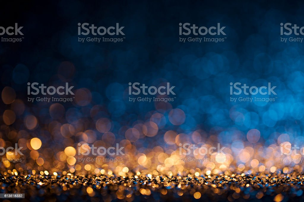 Christmas lights defocused background - Bokeh Gold Blue - foto de acervo