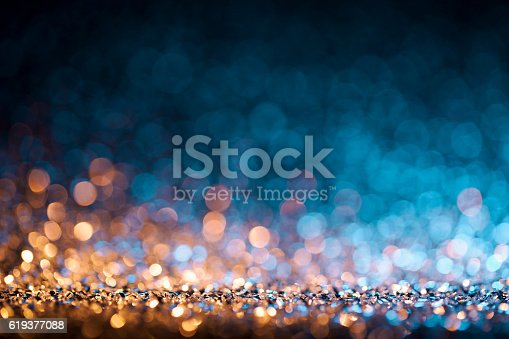 istock Christmas lights defocused background - Bokeh Gold Blue 619377088