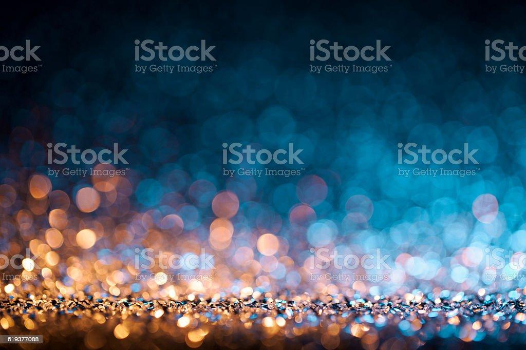 Christmas lights defocused background - Bokeh Gold Blue – zdjęcie