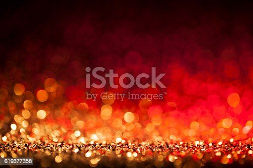 istock Christmas lights defocused background - Bokeh Gold Blue 619377358