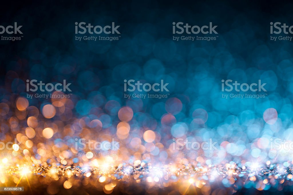 Christmas lights defocused background - Bokeh Gold Blue stok fotoğrafı