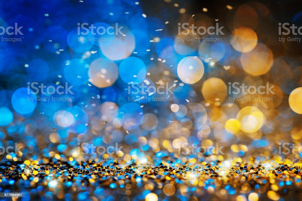 christmas lights defocused background bokeh gold blue royalty free stock photo