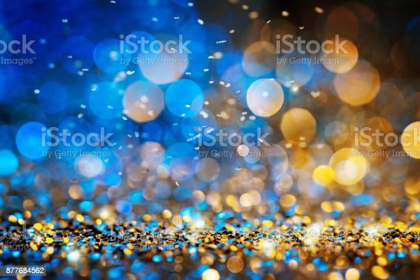 Christmas lights defocused background - Bokeh Gold Blue