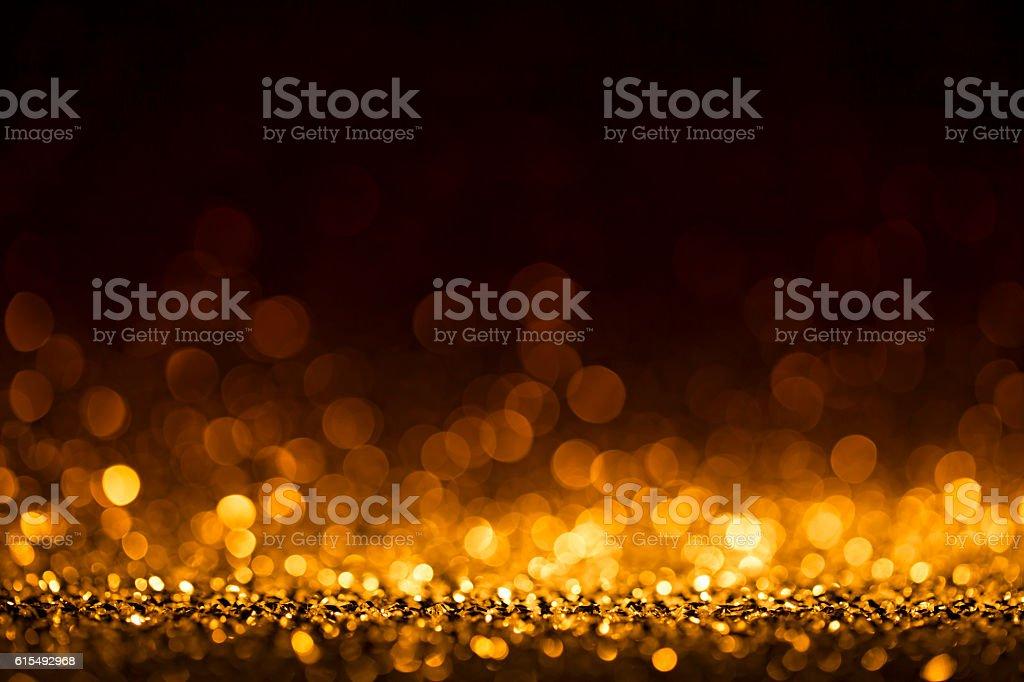 Christmas lights defocused background - Bokeh Gold - Photo