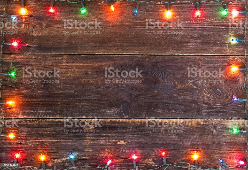 christmas lights frame stock photo