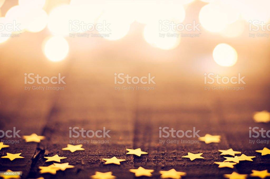 Christmas Lights - Glitter Star Background Bokeh stock photo