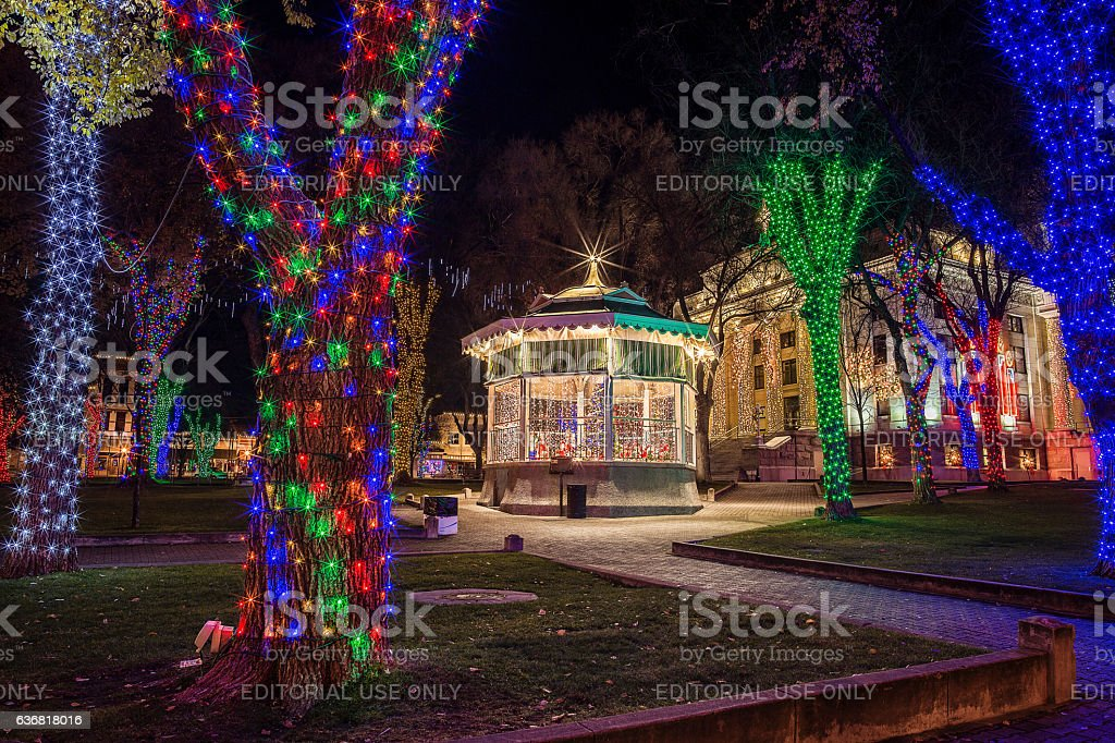 Christmas lights illuminate the downtown Prescott, Arizona town square. royalty-free stock photo