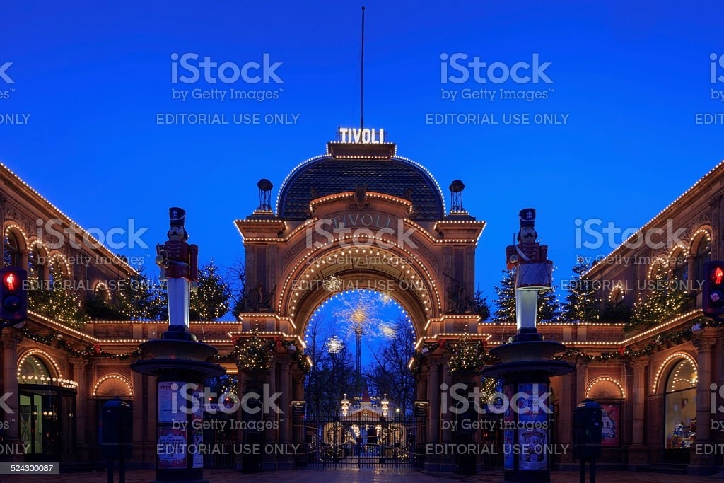 Christmas lights illuminate the main entrance to Tivoli Gardens stock photo